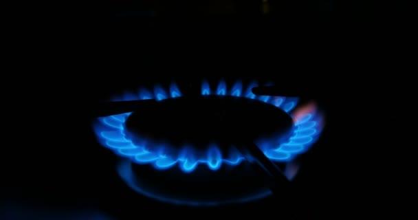 Modré plameny plynu v plynový vařič. Požár na sporáku ve tmě