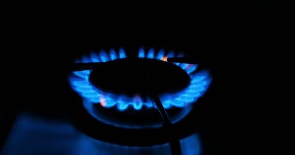 Modré plameny plynu v plynový vařič. Požár na sporáku ve tmě.