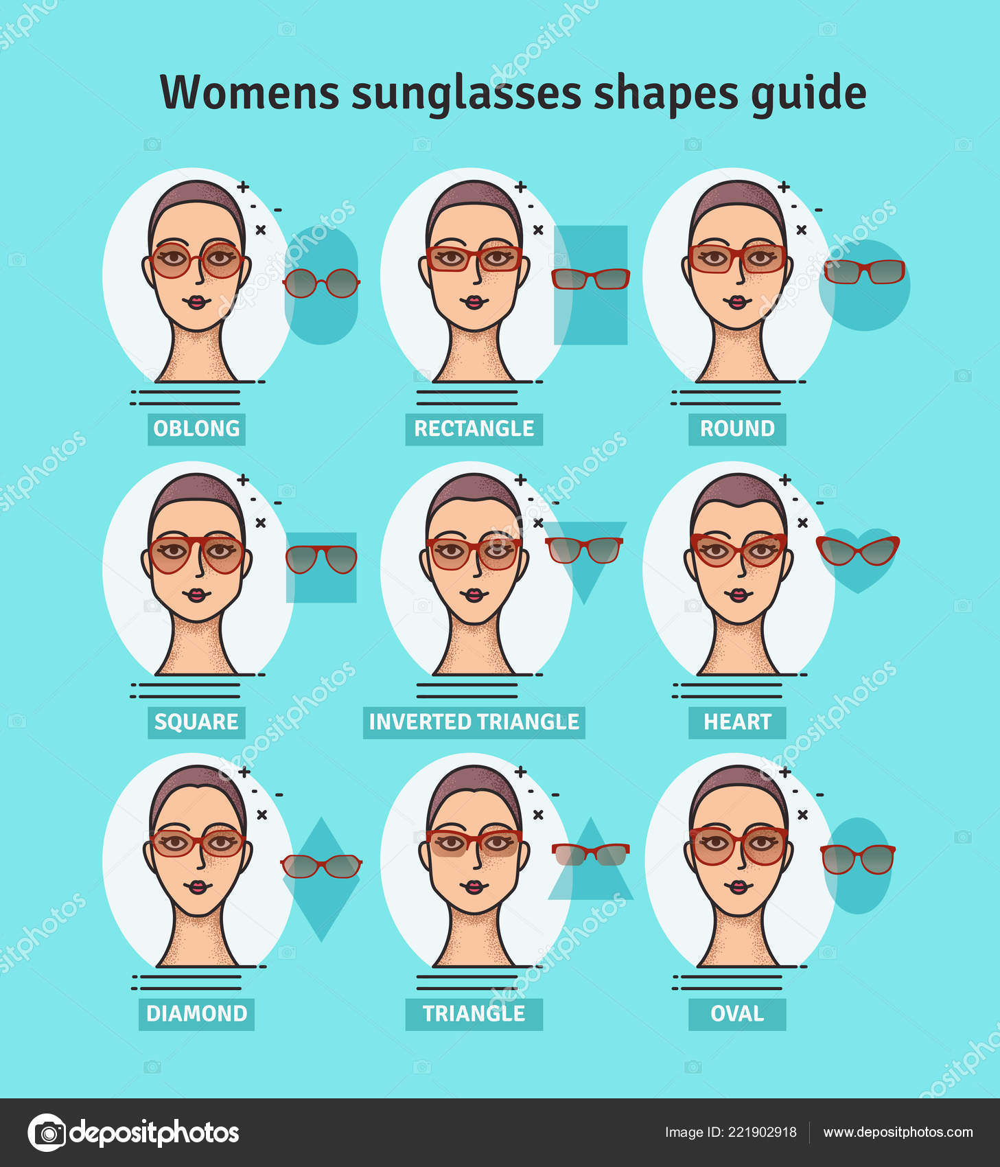 ce66681d510 Vector illustration.– stock illustration. Sunglasses shapes guide. Womens  sunglasses shapes matched with face shape. Various forms of sunglasses
