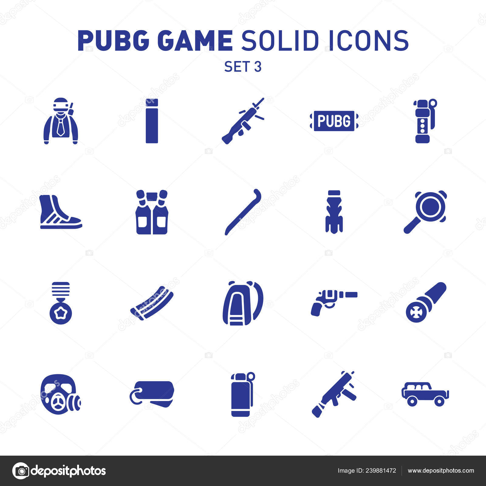 Pubg Game Glyph Icons Vector Illustration Combat Facilities