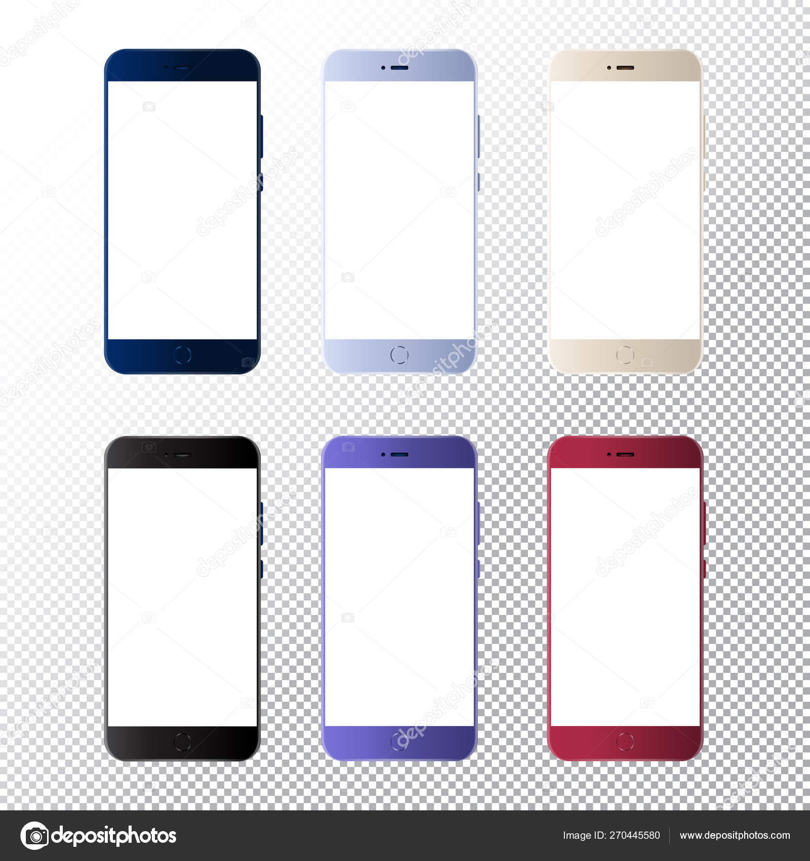 Smartphone Mock Up On Transparent Background Vector Mobile Phone With Empty Screens Mockup For Android App