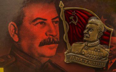 MOSCOW, RUSSIA - NOVEMBER 30, 2016: icon with the image of Generalissimo Josef Stalin is on the cover of the book with his image