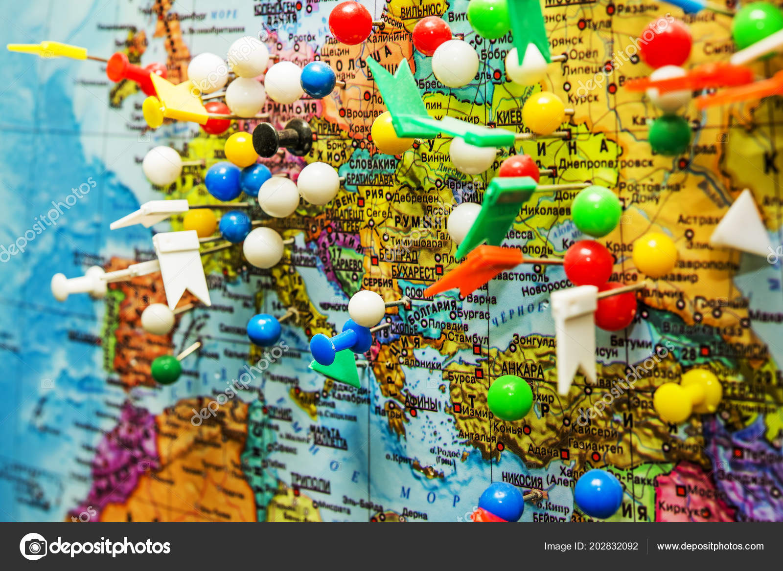 Moscow Russia April 2018 Geographical Map Pushpins Symbolizing ...