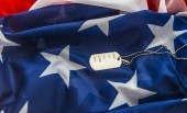 soldier badge  on american flag background. empty soldier badge with words - name, age, sex, blood, birth