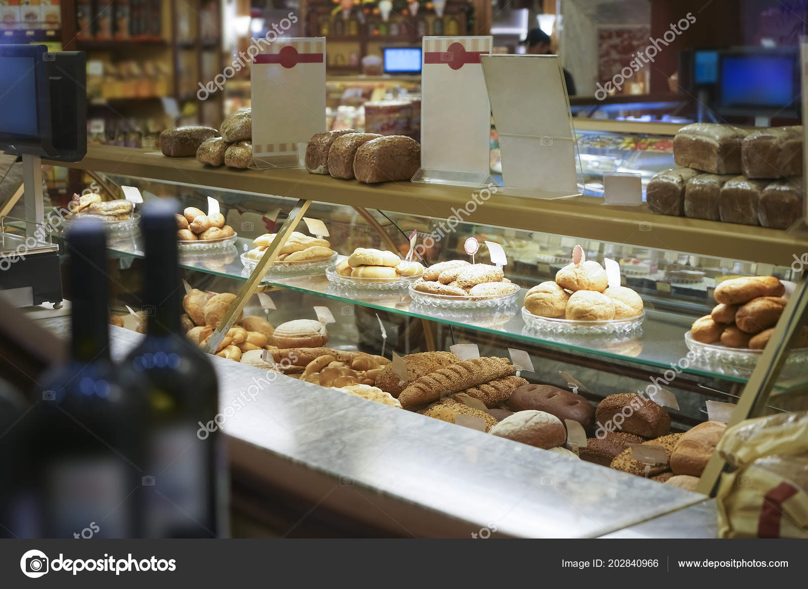 Cafe Bakery Display Case Pastries Display Light Reflection Glass Bakery Stock Photo Image By Borjomi88 202840966