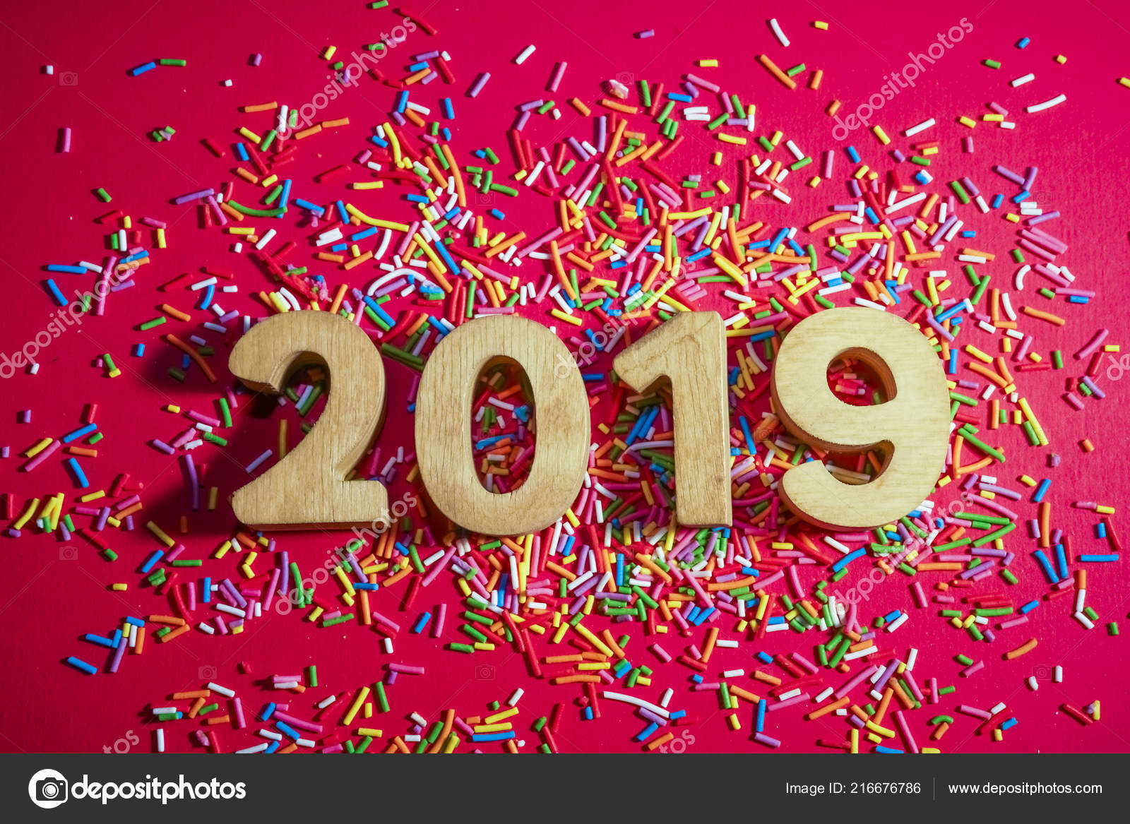 2019 happy new year card number 2019 red paper background stock photo