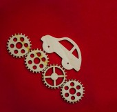 wooden car sign  and four gear wheels on red background.