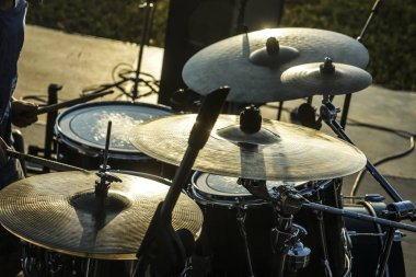 old drums in sunset light