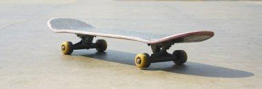 Skateboard  on Wooden floor against skate park background. stock vector
