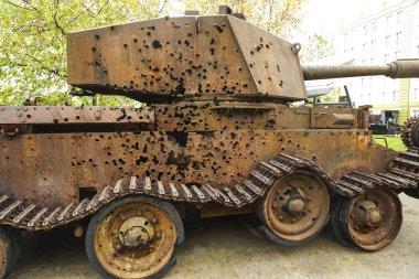 Fragment of caterpillars rusty tank of the Second World War. Era of Cold War. german panzer.