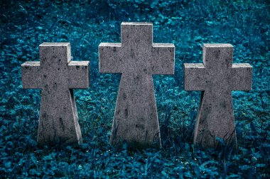 Three gray granite crosses  side by side in memory of the dead, concept, close-up. stock vector