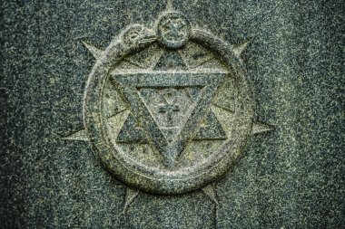 Seven-pointed and David star. gray stone texture background.