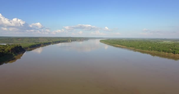 aerial drone shot : fly above the mekong river