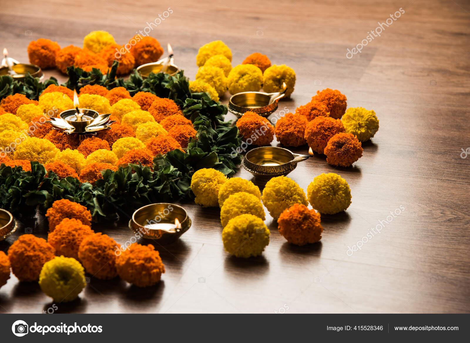 Flower Rangoli Diwali Pongal Festival Made Using Marigold Zendu Flowers Stock Photo C Stockimagefactory Com 415528346