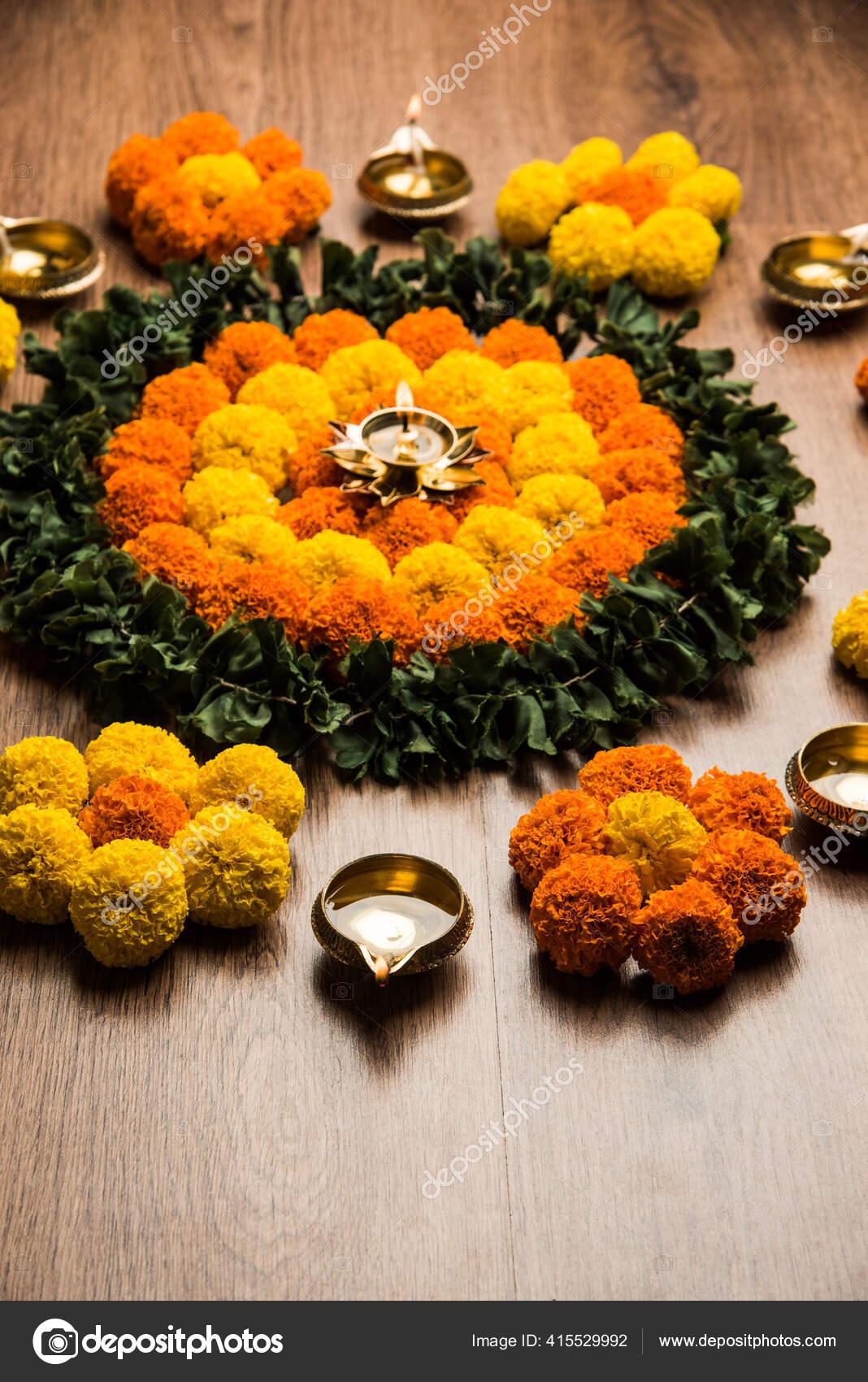 Flower Rangoli Diwali Pongal Festival Made Using Marigold Zendu Flowers Stock Photo C Stockimagefactory Com 415529992