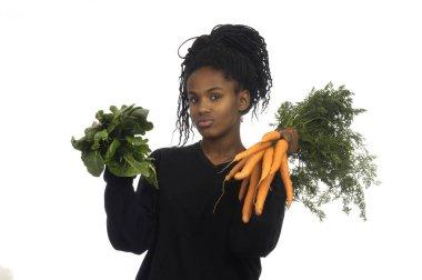 teenage girl with vegetables