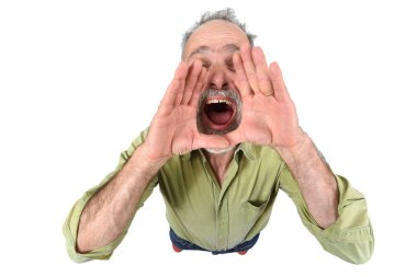 man putting a hand in mouth and is screaming on white background