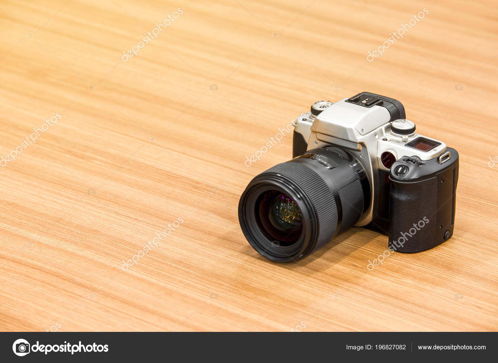 Dslr Camera Wooden Desk Background Stock Photo Funfunphoto
