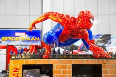 Bangkok, Thailand - August 26, 2017 : A waxwork of Spiderman on display of Marvel Disney Pixar store.