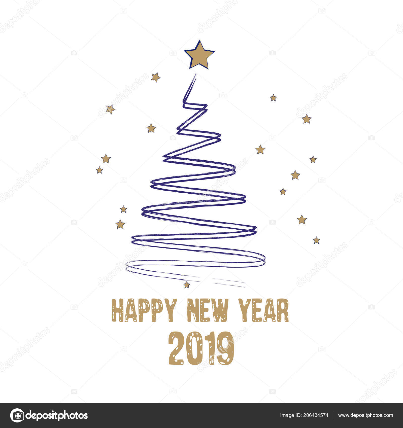Merry Christmas Happy New Year Greeting Card Stylized Christmas Tree ...