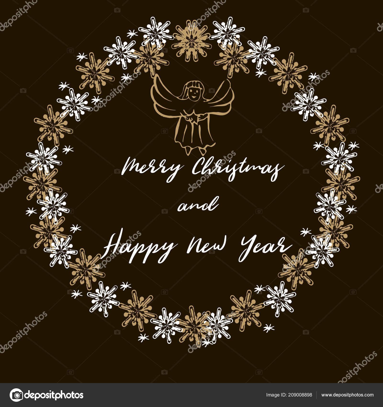 Merry Christmas Happy New Year Greeting Card Christmas Wreath Deers