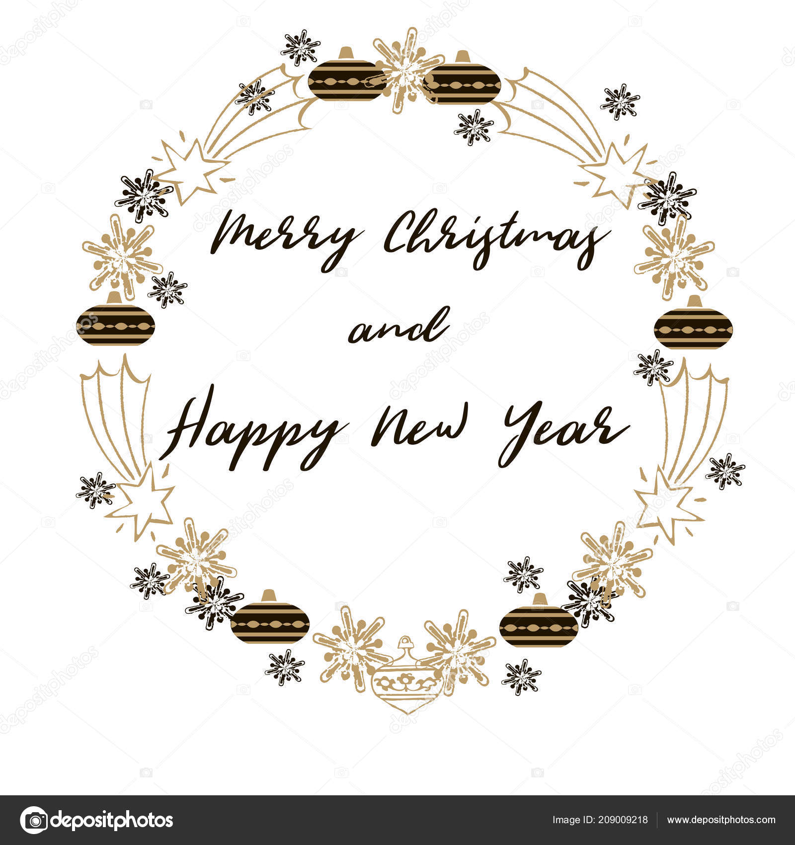 merry christmas happy new year greeting card christmas wreath deers stock vector