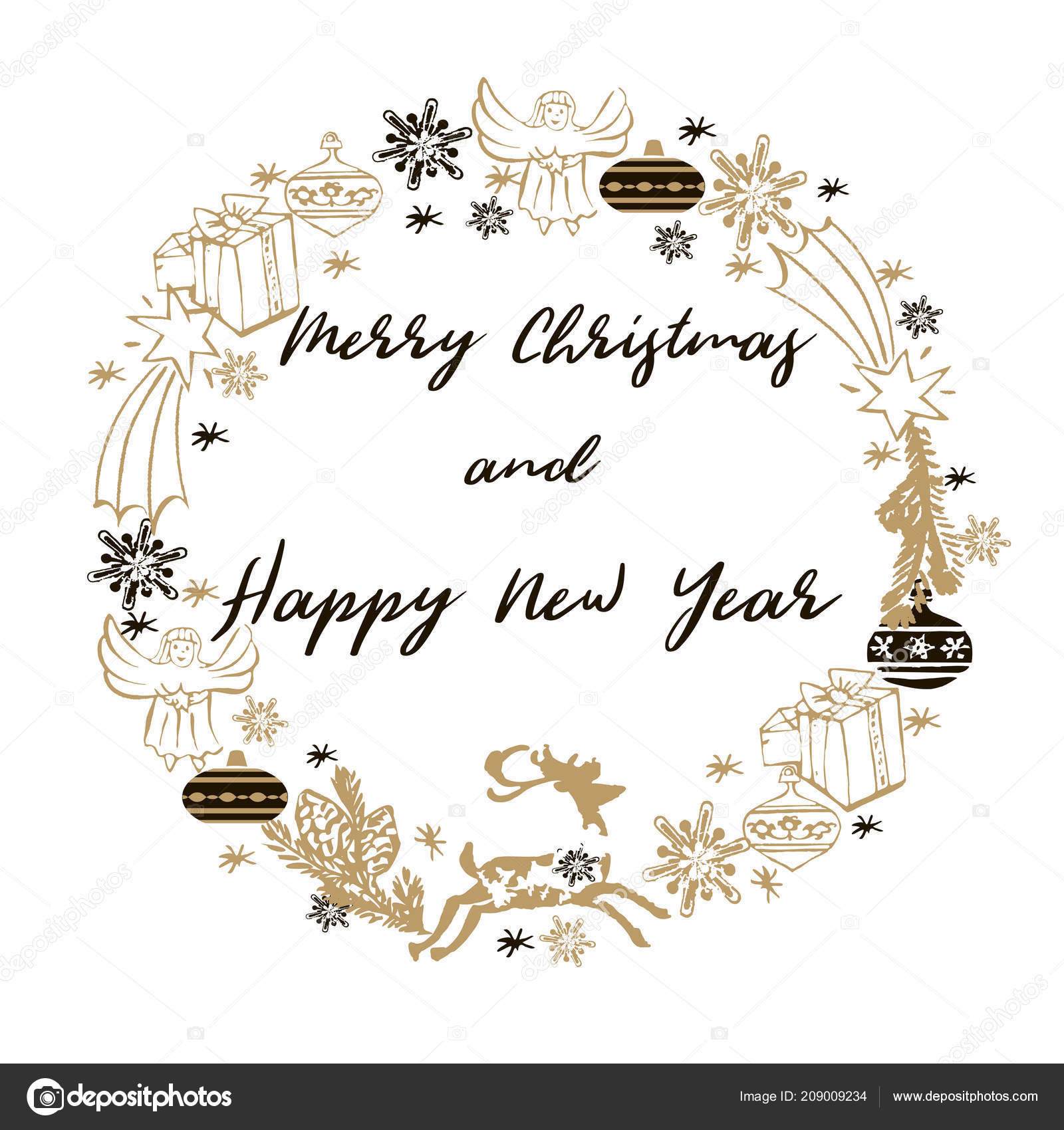Merry christmas happy new year greeting card christmas wreath deers merry christmas happy new year greeting card christmas wreath deers stock vector m4hsunfo