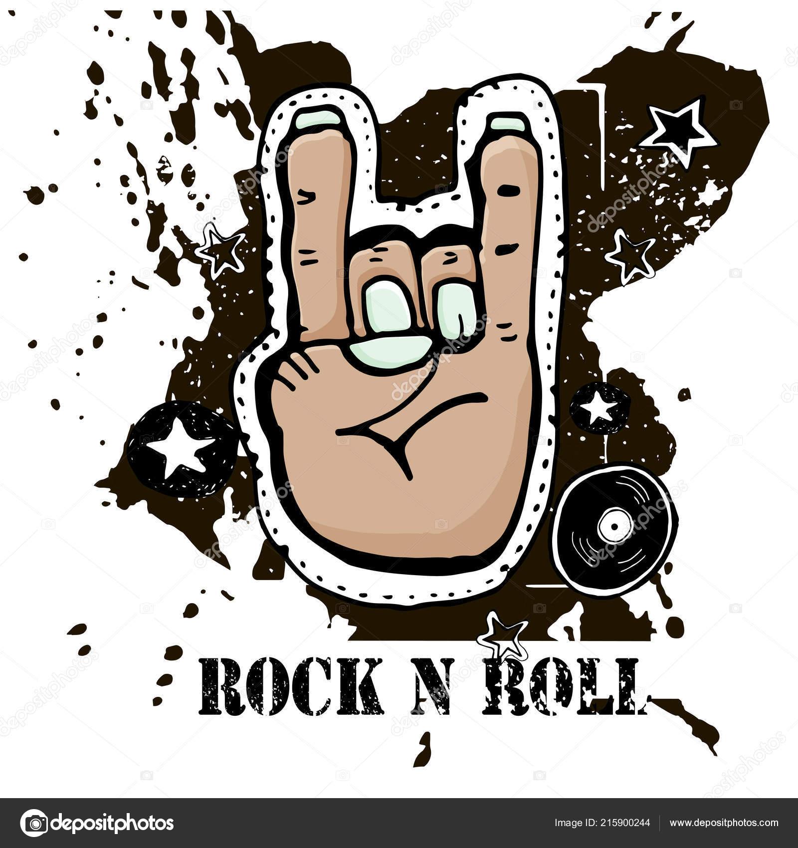 Grunge Texture Background Text Rock Roll Hand Palm Rock Symbol