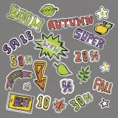 Fotografie Roztomilý Výšivky záplaty a samolepky kolekce. Podzimní prodej. Ručně kreslené vektorové skici.