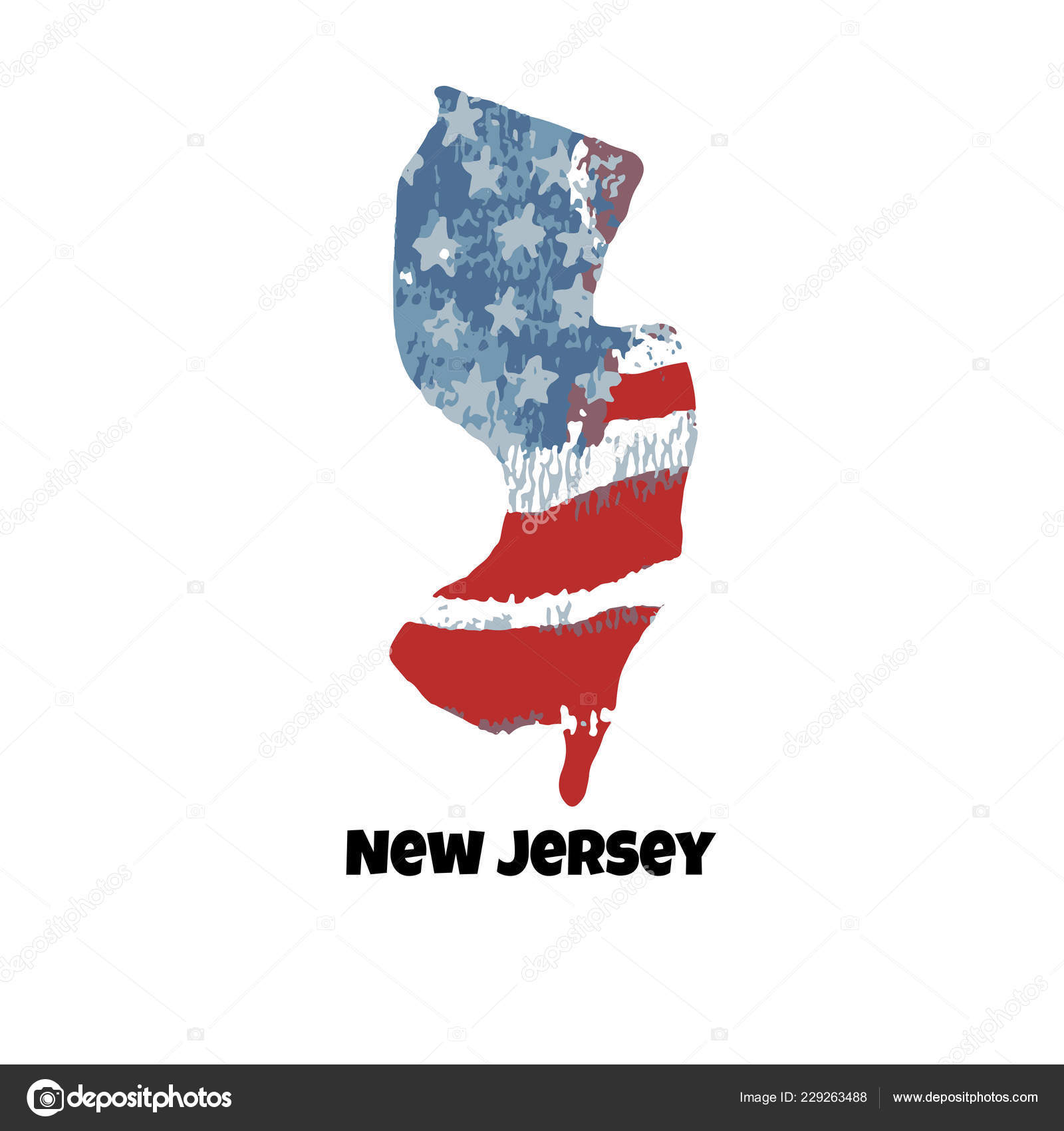 State New Jersey United States America Vector Illustration