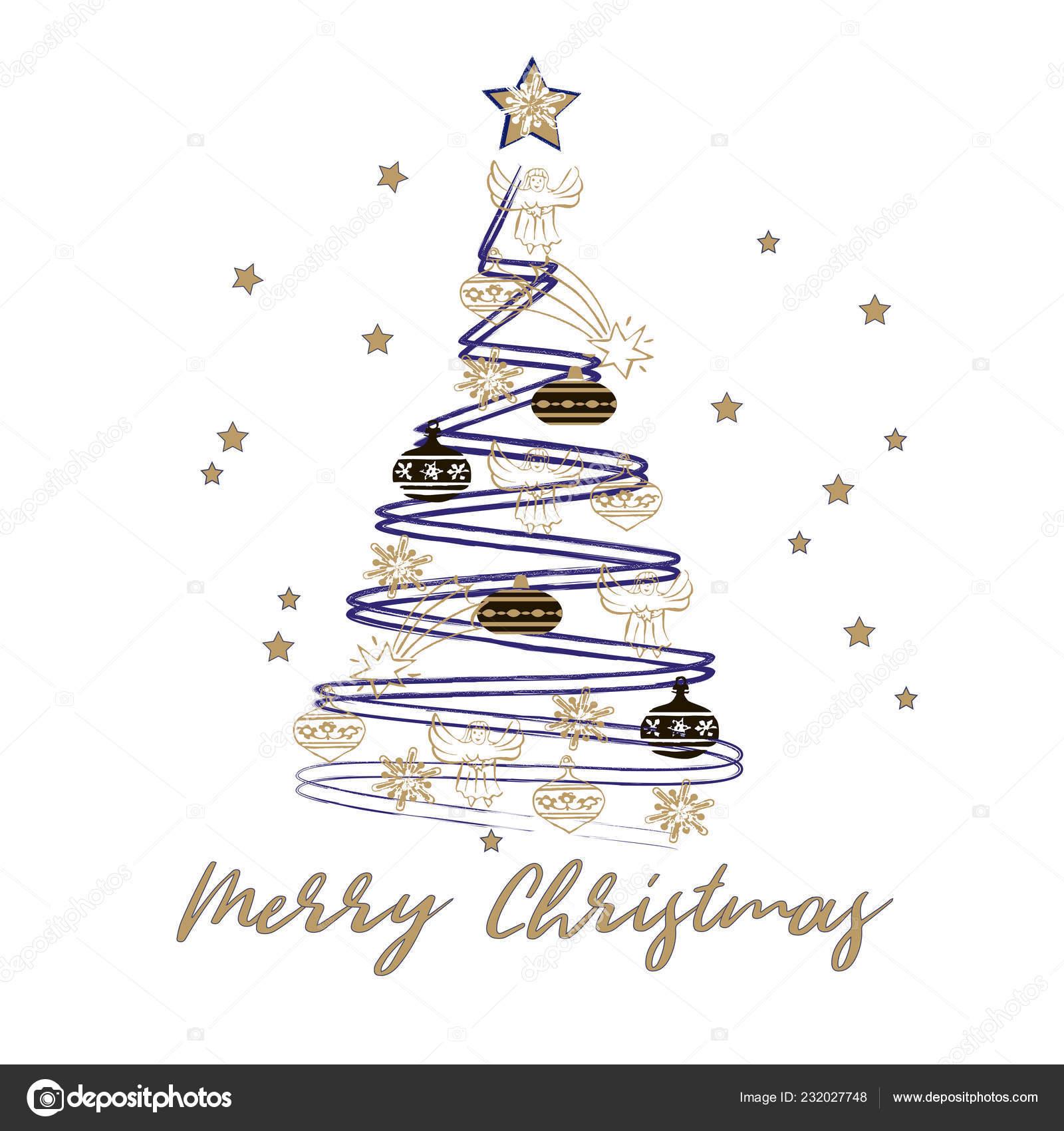 Immagini Stilizzate Natale.Cartolina Auguri Buon Natale Felice Anno Nuovo Albero Natale