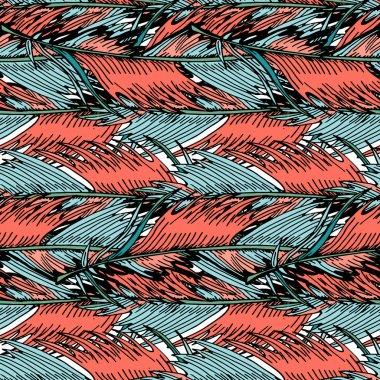 """Картина, постер, плакат, фотообои """"экзотические тропические пальмовые листья красочные тропические цветы бесшовный векторный узор модный живой коралловый фон для текстиля, обои, шаблоны заполнения, крышки, поверхность, печать, обертывание, скрапбукинг . постеры картины тюльпаны лотосы ретро"""", артикул 243734618"""