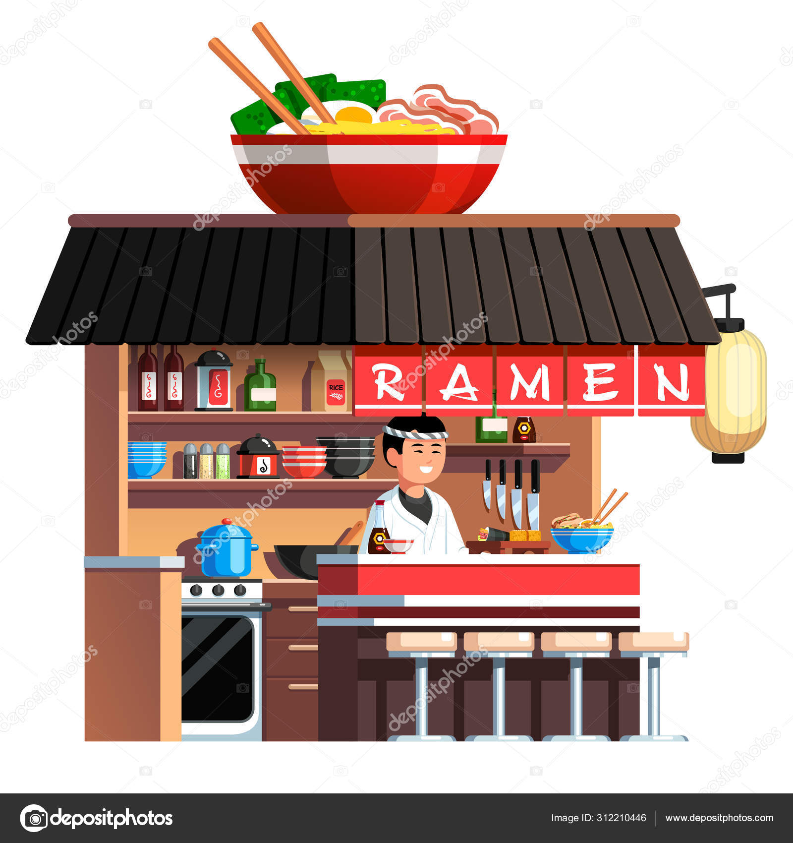 Chashu Ramen Bowl Decorated Asian Soup Restaurant Stock Vector C Iconicbestiary 312210446
