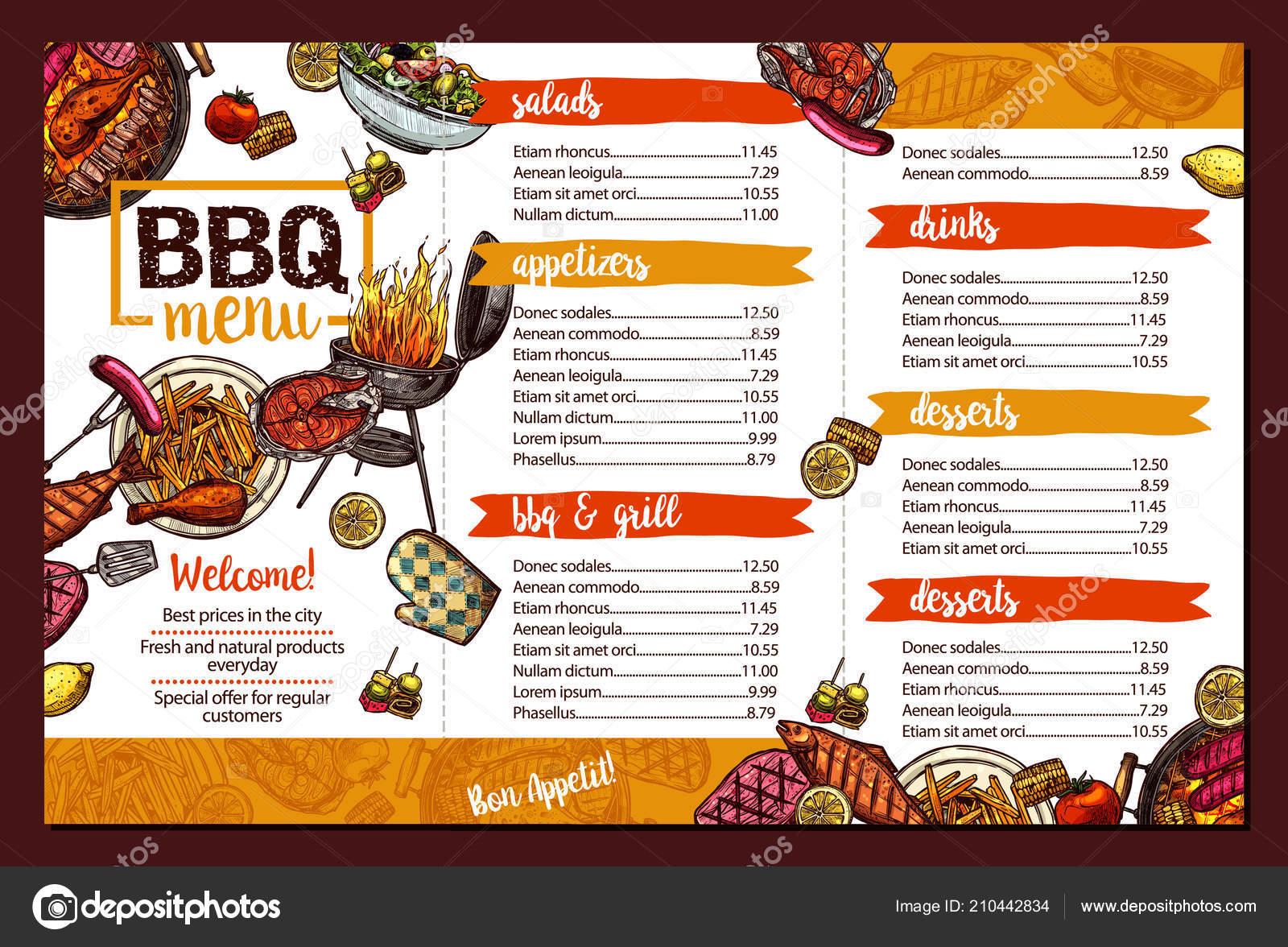 Bbq Restaurant Menu Stock Vector C Alexrockheart 210442834