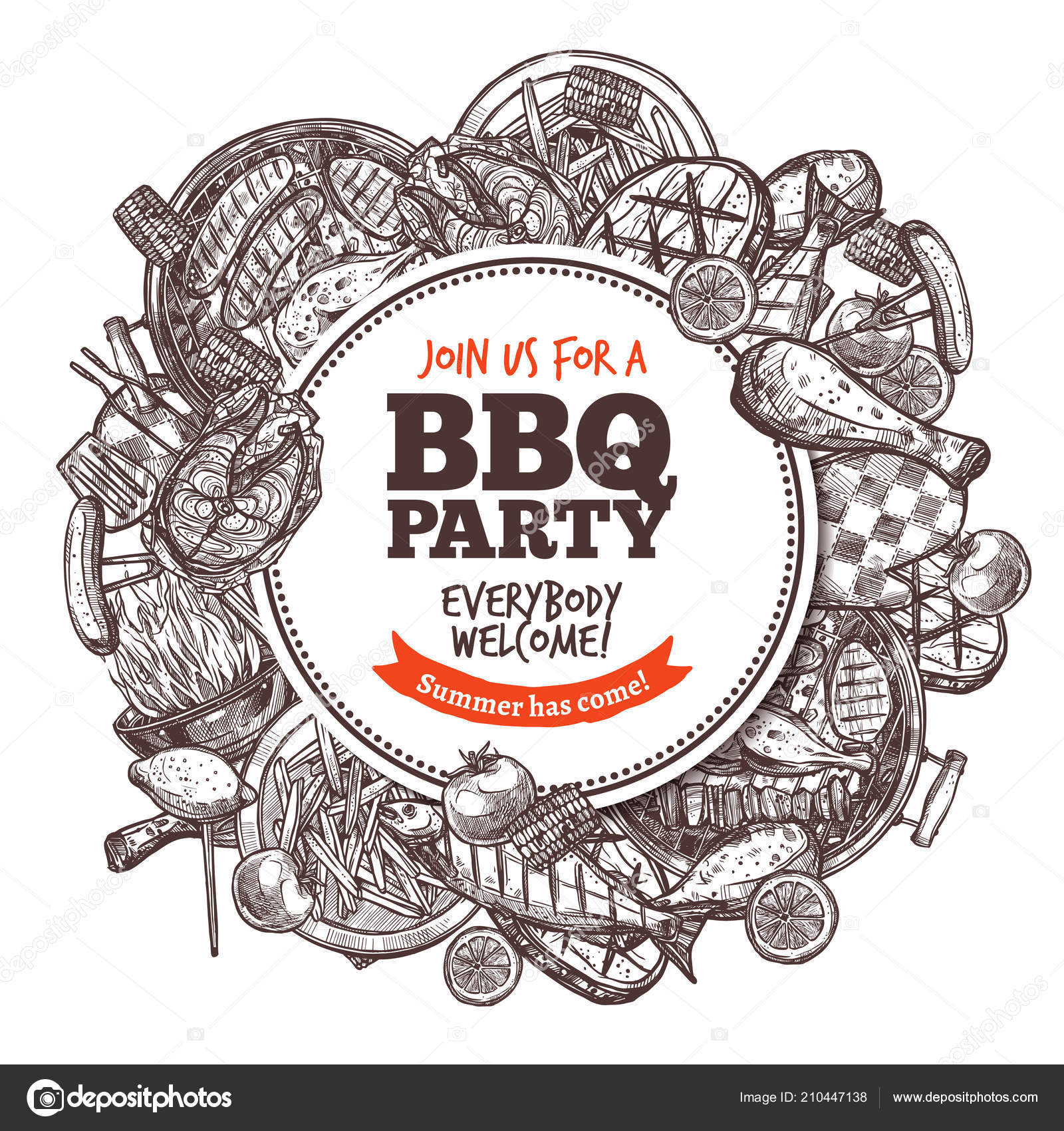 poster collection bbq grilled food barbecue hand drawn engraving