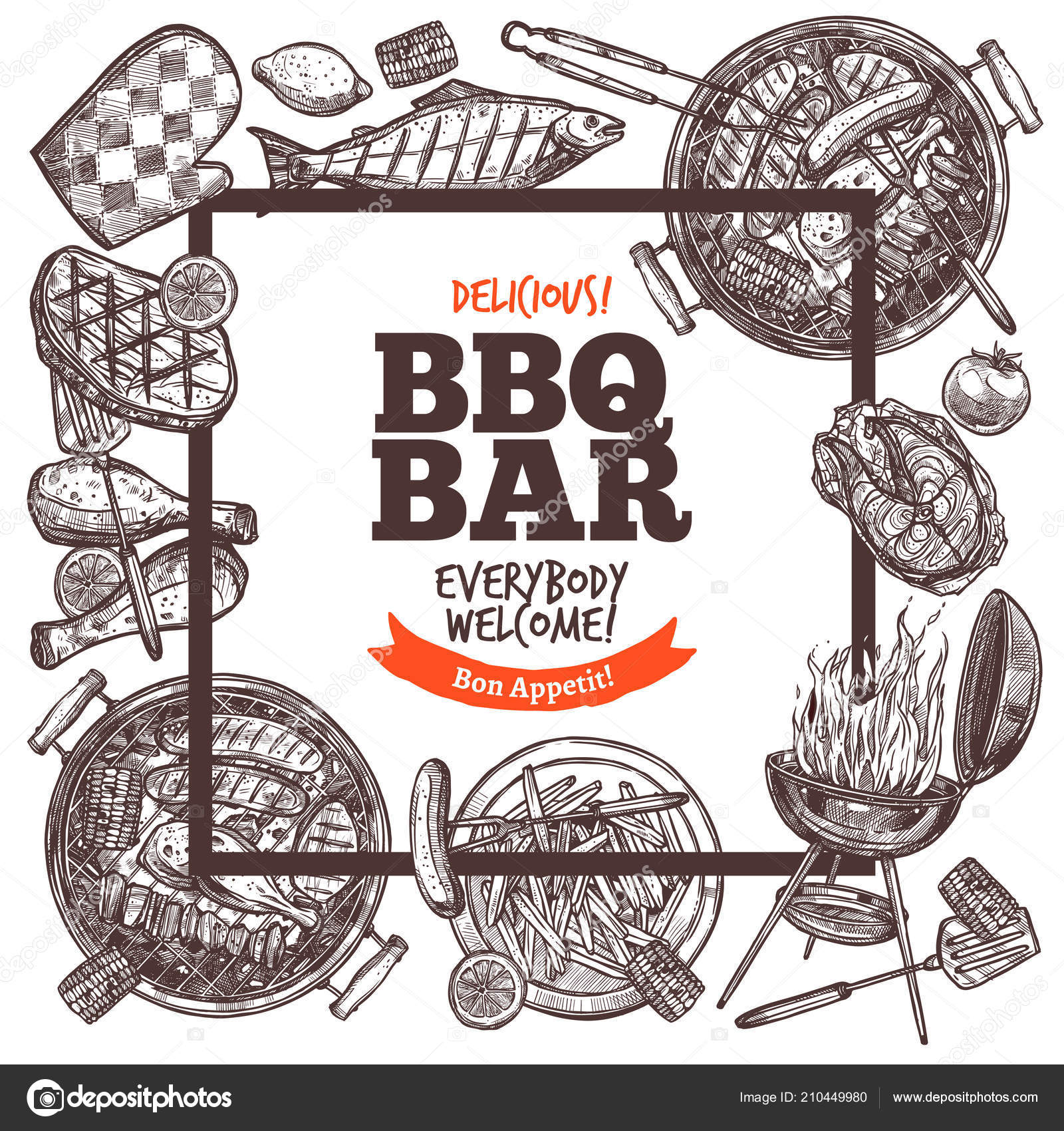 square poster invitation barbecue party bbq bar welcome banner