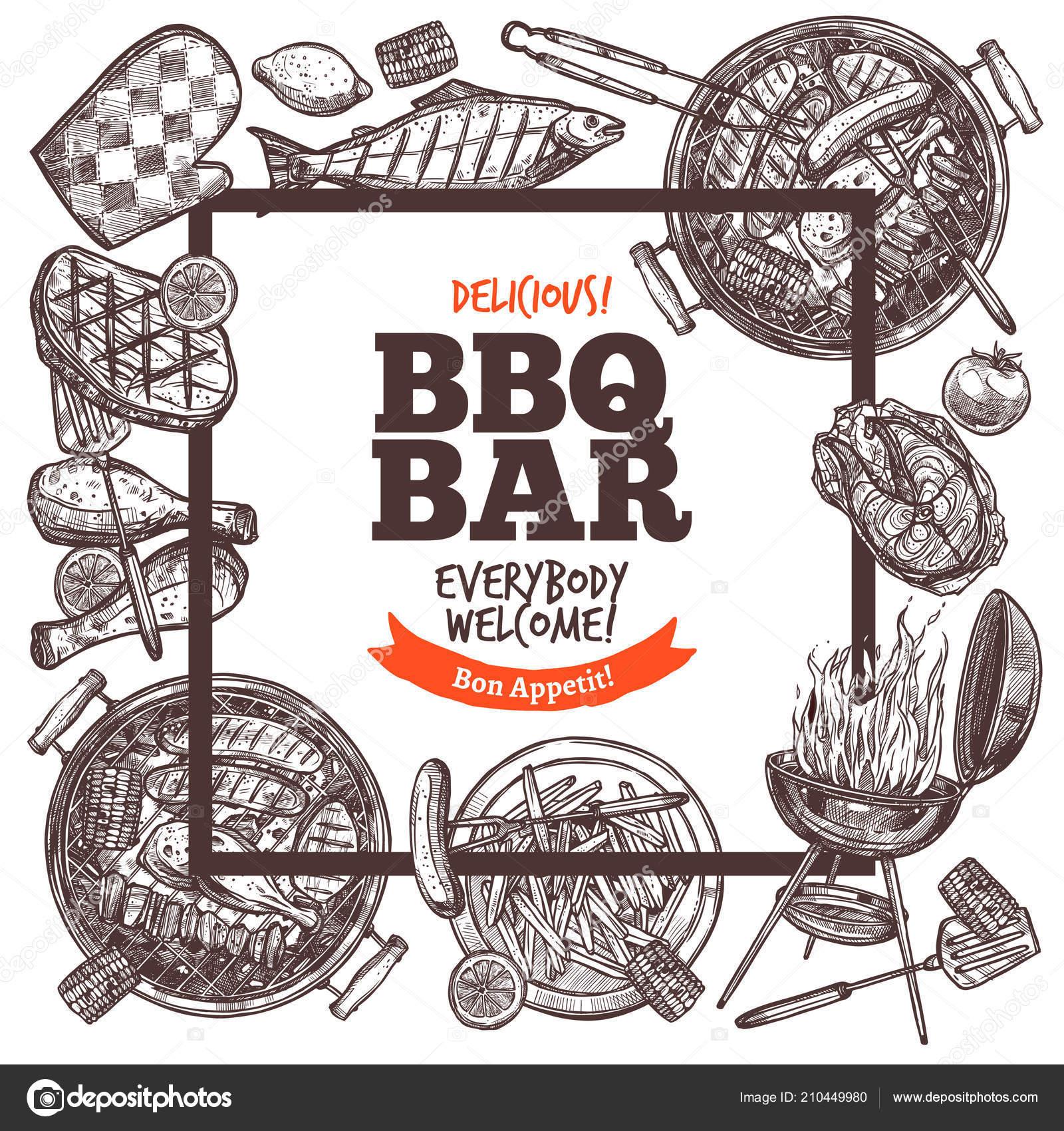 4590ce9788e Quadrados de cartaz convite para festa de churrasco. Banner bem-vindo do  bar para churrasco. Cartaz com grande conjunto de grelhados