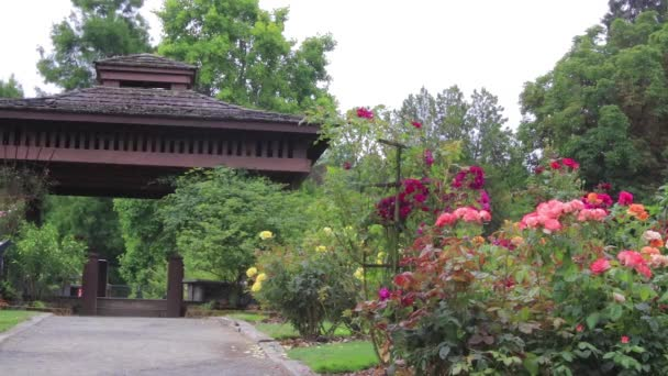 rose garden and shade structure at park