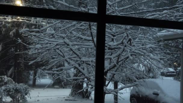 window looking out to snow filled yard and forest