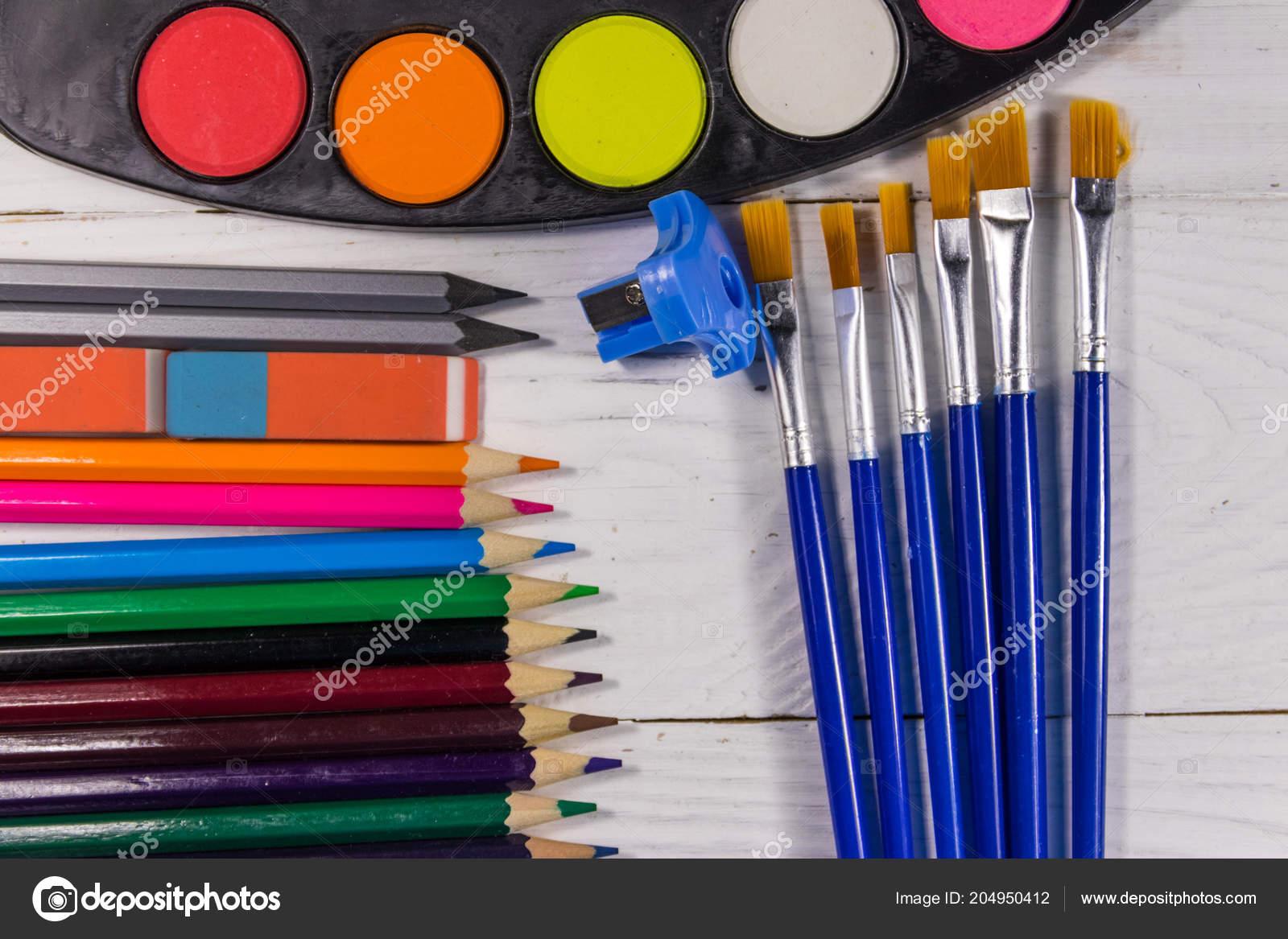 Sada Nastroju Pro Kresleni Bilem Pozadi Drevena Akvarelu Barvy