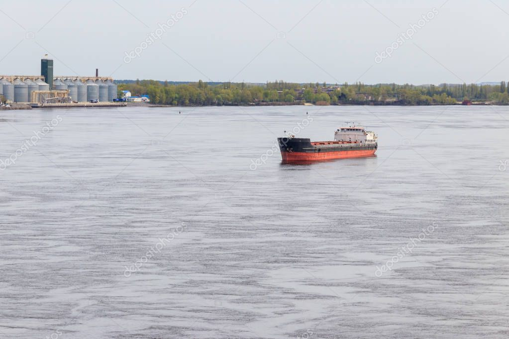 Cargo ship sailing on the river Dnieper