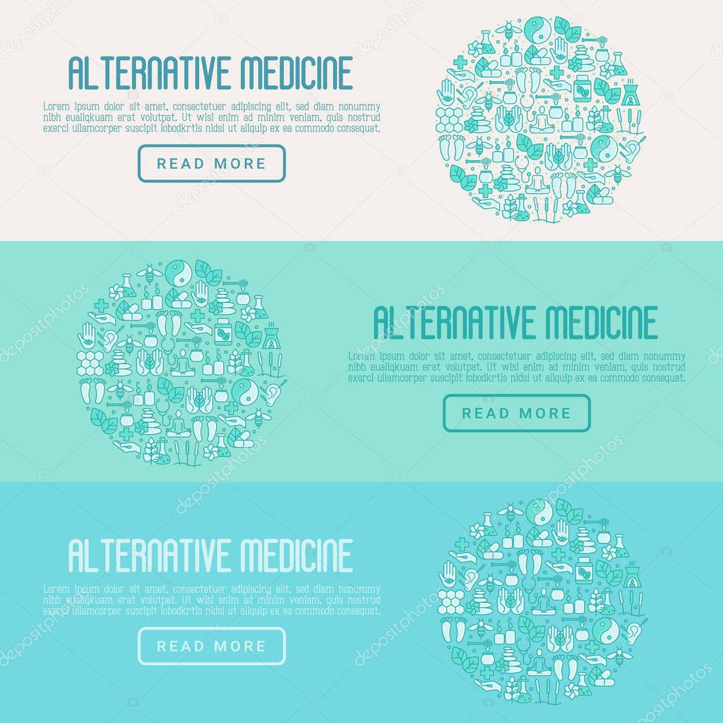 Alternative medicine concept in circle