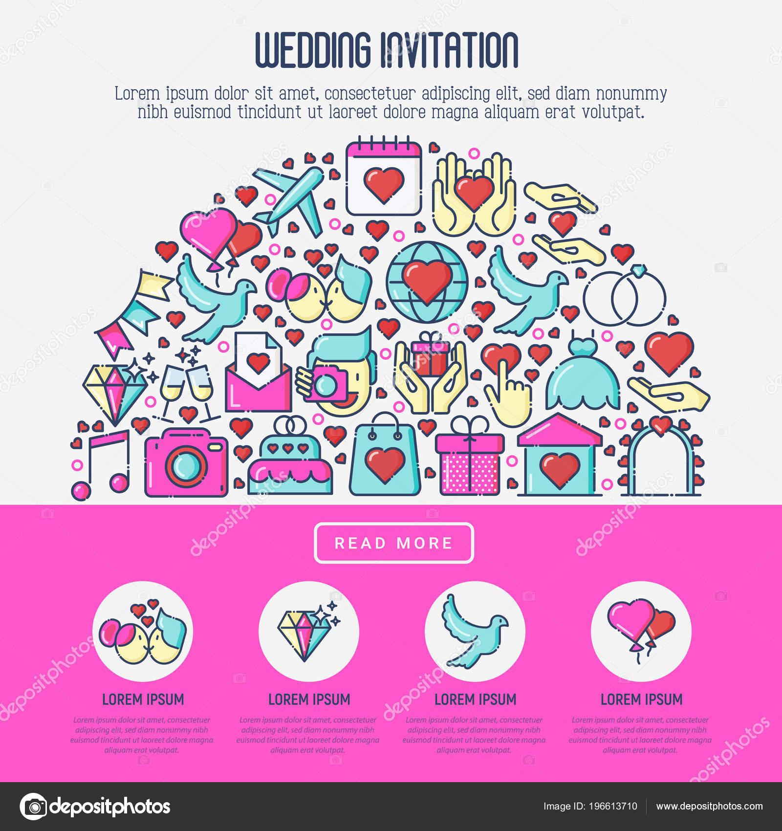 Concepto de invitación de boda con los iconos de línea delgada ...