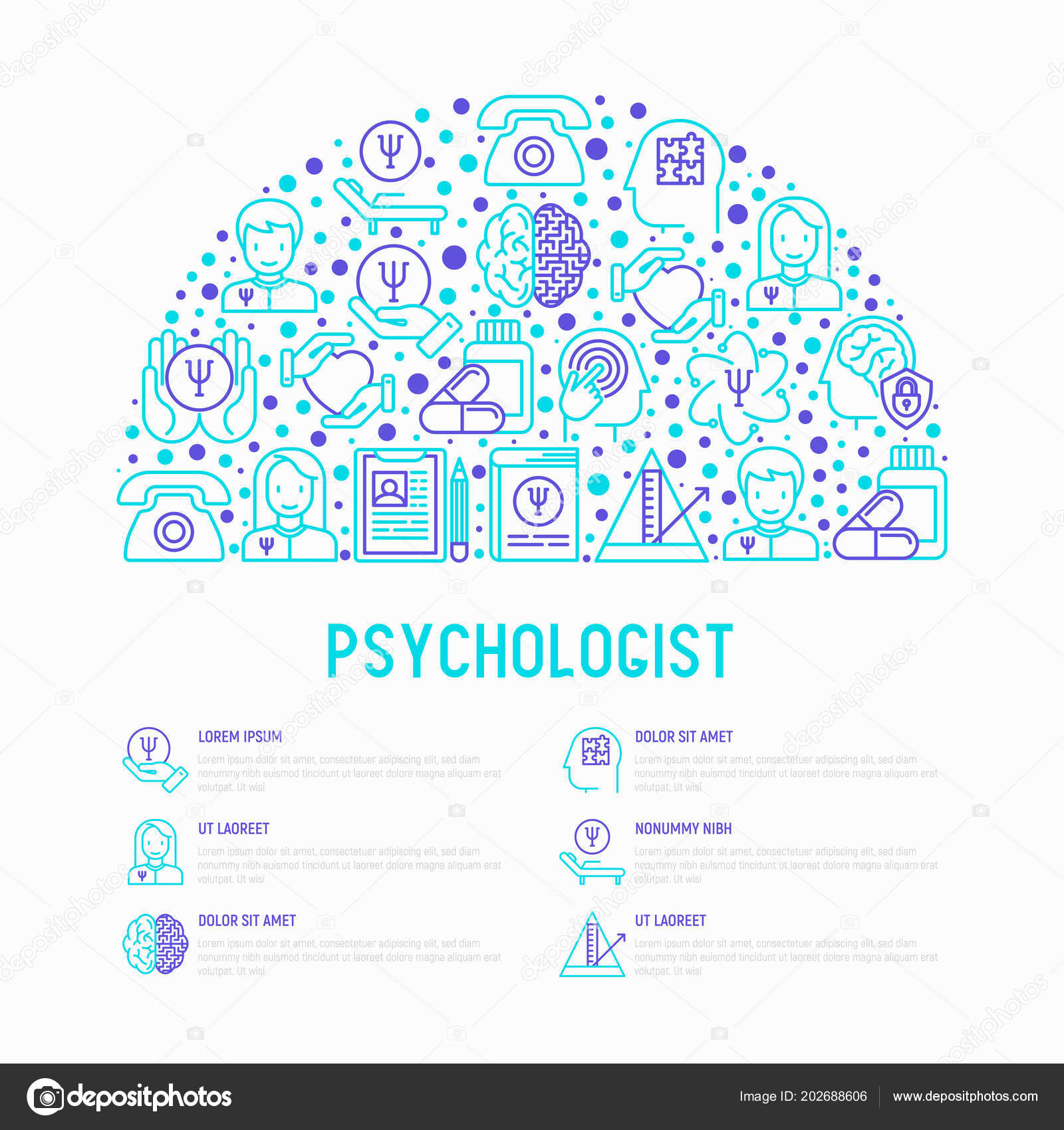psychologist concept in half circle stock vector alexeyblogoodf