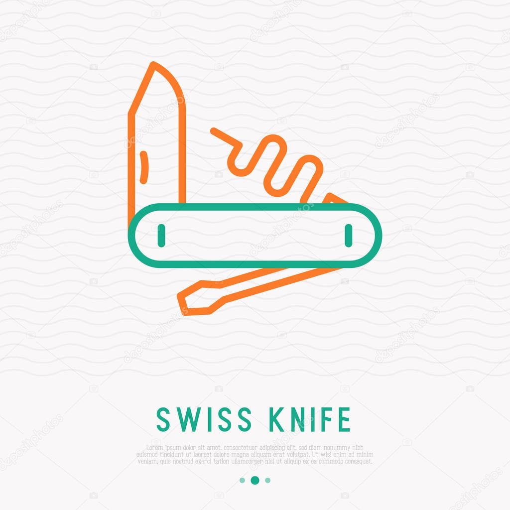 Swiss knife thin line icon. Vector illustration