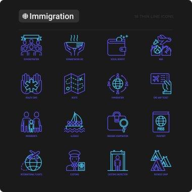 Immigration thin line icons set
