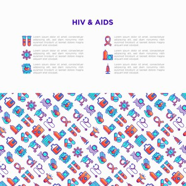 HIV and AIDs concept with thin line icons