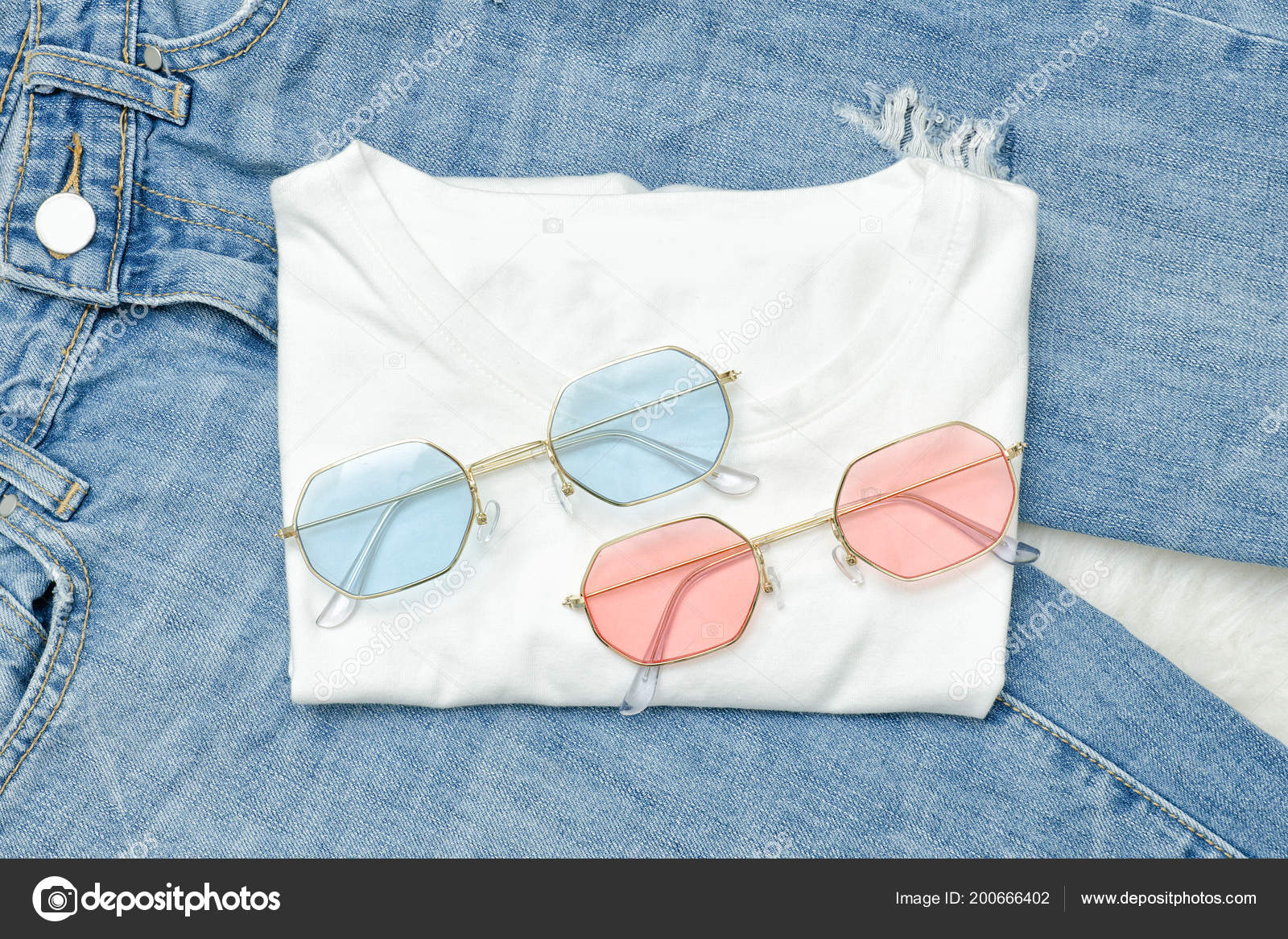 Soleil Jean Shirt Lunettes Multicolores Concept Blanc Vogue Sur ZuwOkTXiP