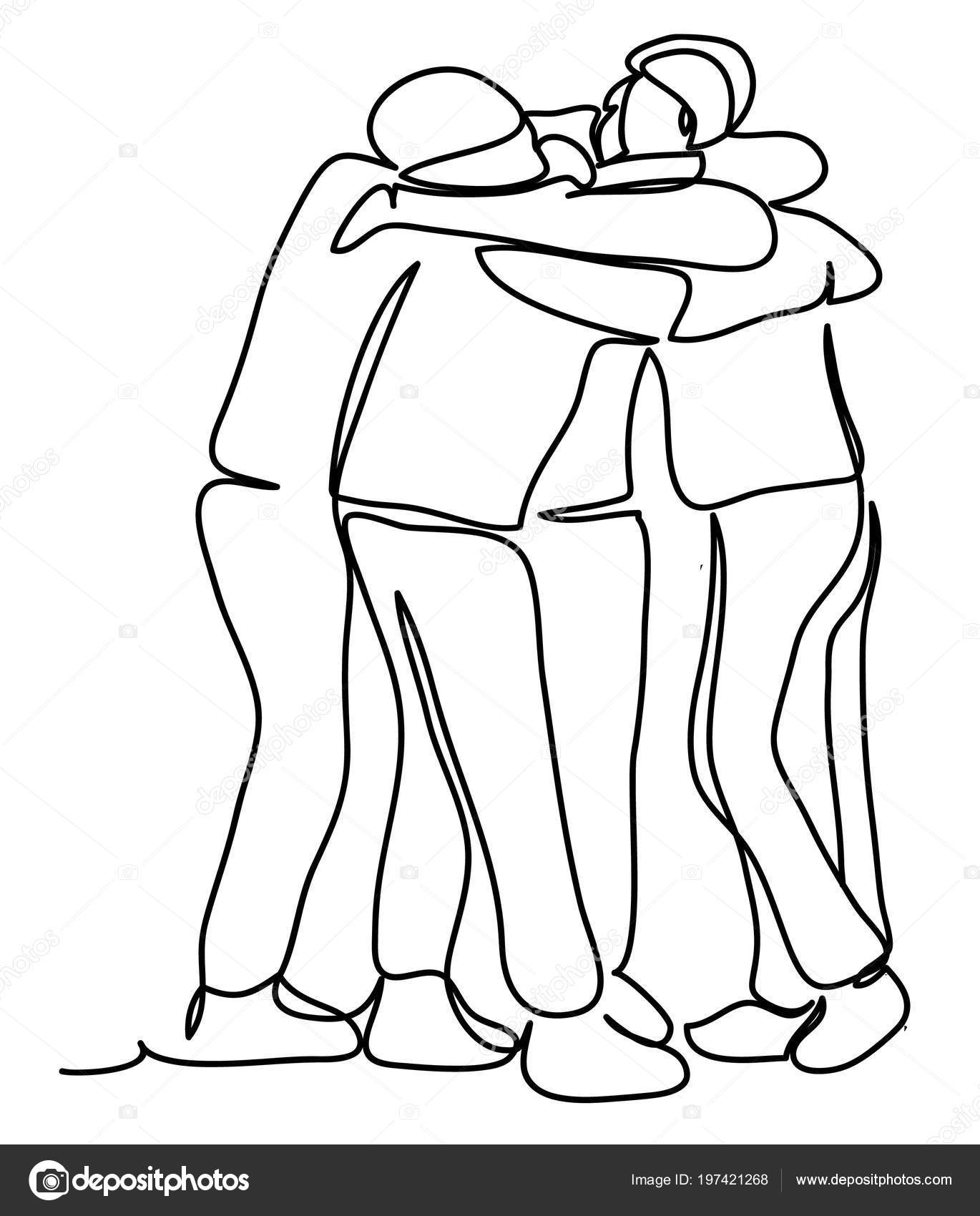 Group Men Hugging Continuous Line Drawing Isolated White