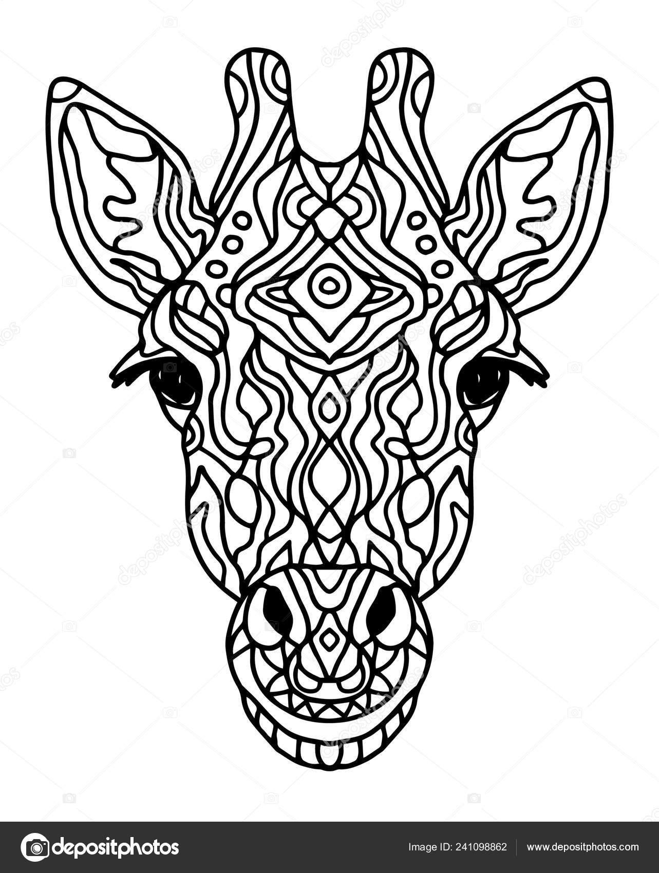 Zentangle Stilize Doodle Vektör Zürafa Kafa Zen Sanat Tarzı Hayvanat